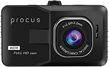 "Procus Convoy Car Dash Camera, H1080P, 3"" LCD Screen Video Recorder, 120° Wide Angle Lens, G-Sensor, Motion Detector, Loop Recorder, Upto 32GB"