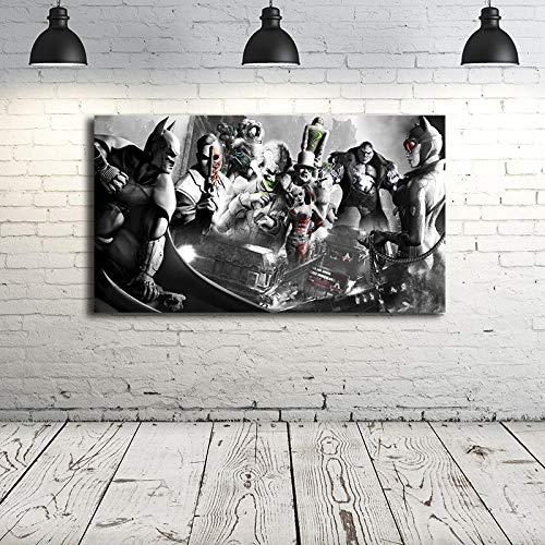 WJY Batman Arkham Serie Poster Marvel Avengers Fumetti Dipinti su Tela Arte Moderna Iagini murali Decorative Decorazioni per la casa 40 x60 Nessuna
