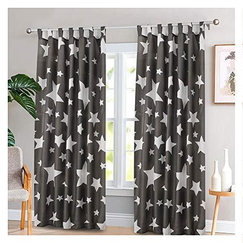Jartex - set di 2 tende con passanti per finestra, per camera da letto e cameretta dei bambini, 140 x 240 cm, colore: grigio