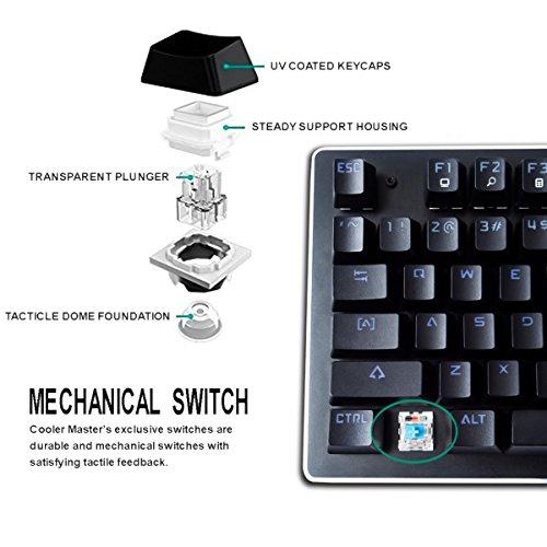 FLAGPOWER Mechanische Tastatur Gaming Tastatur beleuchtete LED Gaming-Keyboard mit Kabel, Anti-Ghosting, 104 Tasten(Multimedia Taste, 10 Hintergrundbeleuchtung) Englisch Layout - 6