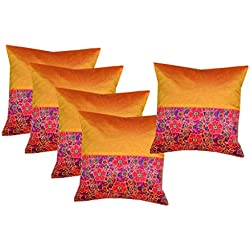 "PINK PARROT Dopian Silk Decorative Embroidery Square Pillow Cushion Cover-12"" X 12""(30cm x30cm) Inches, Set Of 5 Pcs"