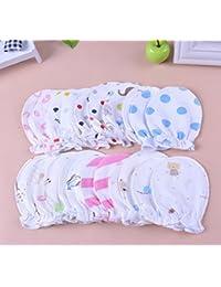 yeah67886Creative recién nacido bebé anti-scratch guantes de algodón 0–6meses (5par)