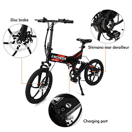 Ancheer Electric Folding Bike, 20 Inch Waterproof Foldable Ebike with 36V 8Ah Removable LG Battery and 250W motor, Full suspension and 6 Spokes Integrated Wheel