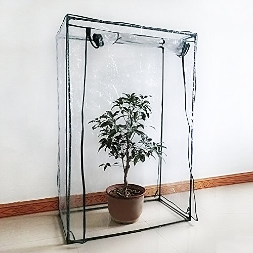 Tomaten-Gewächshaus, PE, Pflanzen-/Gemüse-Zelt mit hochrollbarer Tür und Reißverschluss, (Rahmen...