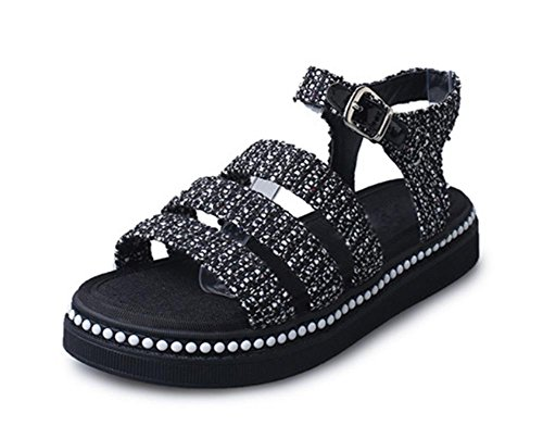 Flache dicke Kruste Perle Sandalen und Pantoffeln beiläufigen Wort Riemchen-Sandalen Sommerschuhe suit