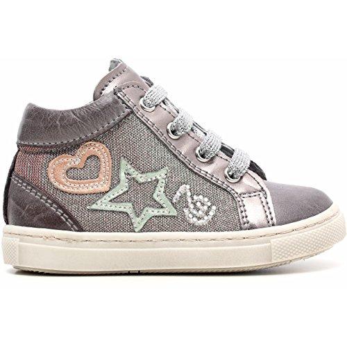 Noir Jardins Junior Sneaker a521220 F, Premiers Pas Fille en Cuir et Tissu Paillettes, Grigio (Brandon Grafite)