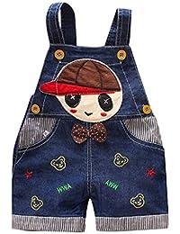 Bebé niño niña Pantalones Petos sin Mangas de Dibujos Animados de impresión Pantalones de Denim Mono