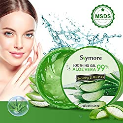 Skymore 300ml Aloe Vera Gel, Natürliche Aloe Vera Creme für trockene Haut, After sun gel, Sonnenbrand Reparieren, Beruhigende und Pflegende, Natürliche Feuchtigkeitspflege für Gesicht, Körper und Haar
