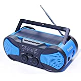 Hurricane Radio Weather Radio NOAA,FM/AM/SOS Emergency Radios With Hand Crank Solar Earphone And Flashlight & Reading Lamp,4000mAh Charger For Cellphone,Survival Kit,Blue,Greeous