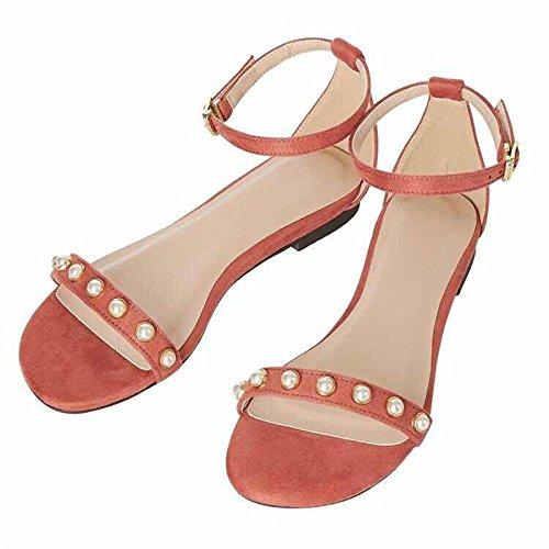 HUAHUA Süß, Sommer Damen Schuhe Flachbodigen Retro Schöne Schlitz mit Perle Sandalen Weiblich (Perlen Runde Quadrat)