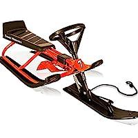 Deuba Snow Sledge Sled Sleigh Brakes and Steering Scooter Black Red Toboggan Kids Winter Outdoor Activities Toys Racer