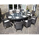 All Weather Brown Rattan 8 Seat Oval Dining Set Outdoor Garden Furniture