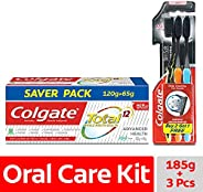 Colgate Total Advanced Health Anticavity Toothpaste - 185 g with Colgate Slim Soft Charcoal Toothbrush (Buy 2
