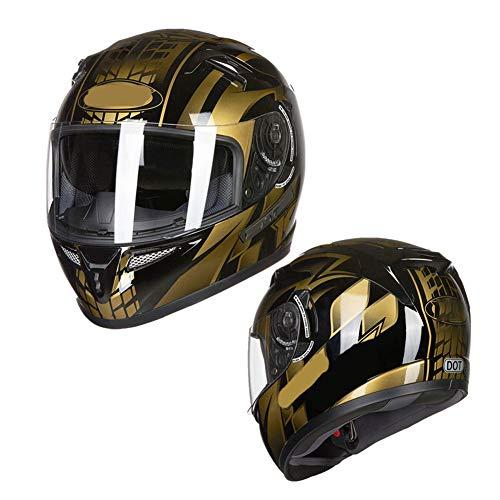Casco da moto, casco da pista GP, casco integrale da guida con doppia lente, casco da locomotiva Bluetooth per uomo e donna-XL