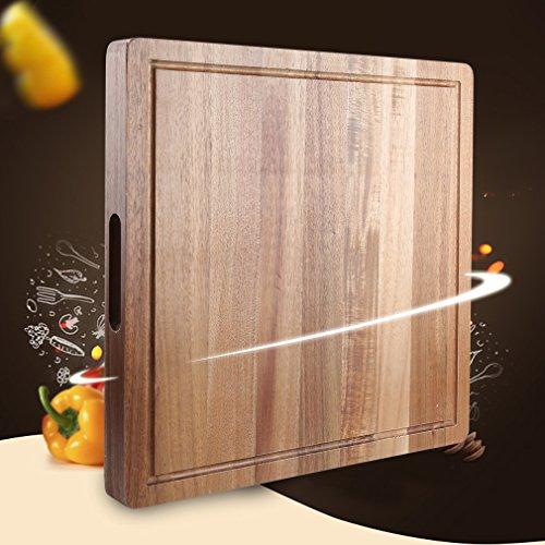 SHINY HOME® | Holz Schneidebrett und Küchenbrett | 40cm x 40cm x 3.7cm | mit umlaufender Saftrille | Holzbrett natur