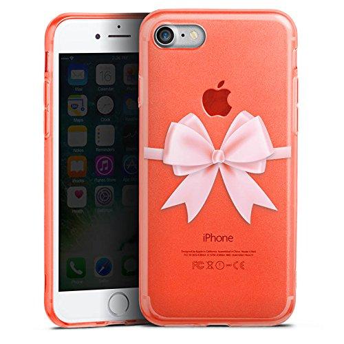 Apple iPhone 8 Silikon Hülle Case Schutzhülle Rosa Schleife ohne Hintergrund geschenkschleife Silikon Colour Case neon-orange