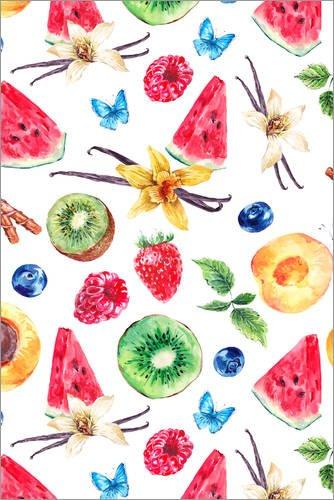Posterlounge Leinwandbild 120 x 180 cm: Sommerfrüchte in Aquarell von Editors Choice - fertiges Wandbild, Bild auf Keilrahmen, Fertigbild auf echter Leinwand, Leinwanddruck