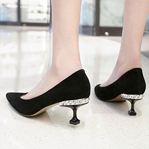 Jqdyl Tacones Zapatos de mujer Tacones de aguja Puntas, Negro, 35