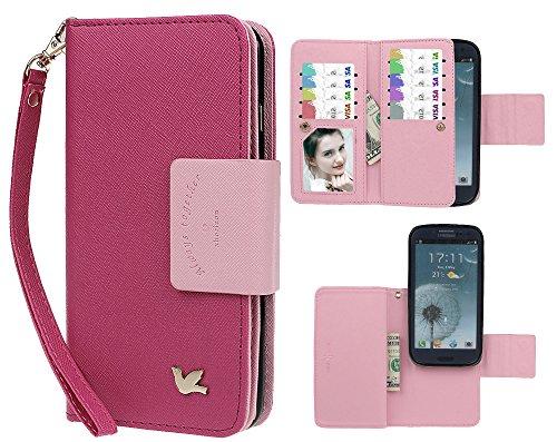 Hülle für Samsung S3, xhorizon FX Prämie Leder Folio Case [Brieftasche][Magnetisch abnehmbar] Uhrarmband Geldbeutel Flip Vogel Tasche Hülle für Samsung Galaxy S3 i9300 mit einer Auto Einfassungs Halte Rosa