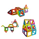 42 Pieces Mini Magnetic Building Blocks Toys Set, Educational Magnet Bricks Tiles Construction Stacking Kit For Kids | 5 Different Shapes Block Set