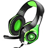 TurnRaise Juego de Auriculares, de 3,5 mm Auriculares de Juegos de Luz LED con Micrófono para iPhone de PlayStation 4 PS4 Tablet PC (Verde)