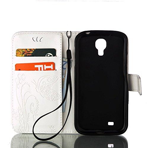 Hülle für iPhone 7 (4.7 zoll), Owbb Schmetterling Blumen Muster Handyhülle PU Ledertasche Flip Cover Wallet Case mit Stand Function Innenschlitzen Design Weiß(Ein freier Stylus als Geschenk) Weiß