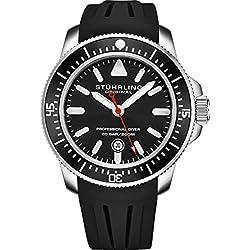 Stuhrling Original Sport Diver Watch Dive Watch pour Hommes avec Couronne vissée et résistant à l'eau jusqu'à 200 m. Cadran analogique, Mouvement à Quartz Collection de Montres pour Homme (Black)