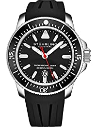 Stuhrling Original Mens Dive Watch - Pro Sport Diver with Screw Down Crown and Water Resistant to 200M. - Analog Dial, Quartz Movement - Maritimer Mens Watches Collection (Black)