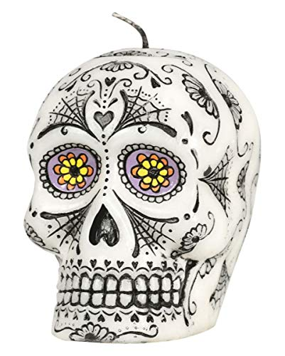 Horror-Shop Day of The Dead Sugar Skull Kerze als Party Dekoration zum Tag der Toten und Halloween