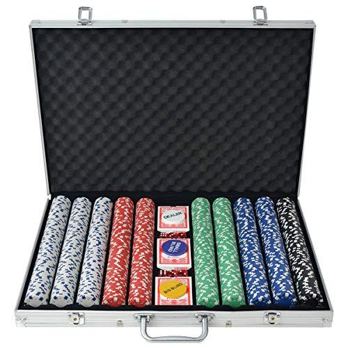 vidaXL Pokerkoffer 1000 Pokerchips Aluminium Koffer Chips Poker Set Pokerset