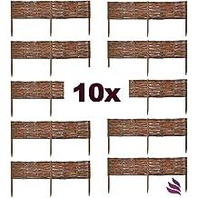 10 X Floranica® Weide Beeteinfassung, Steckzaun in 25 Größen, Rasenkante, Weidenzaun - imprägniert mit Buchepflöcke für leichtes Einsetzen, Länge:100 cm, Höhe:20 cm