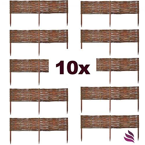 *10 X Floranica® Weide Beeteinfassung, Steckzaun in 25 Größen, Rasenkante, Weidenzaun – imprägniert mit Buchepflöcke für leichtes Einsetzen, Länge:100 cm, Höhe:20 cm*