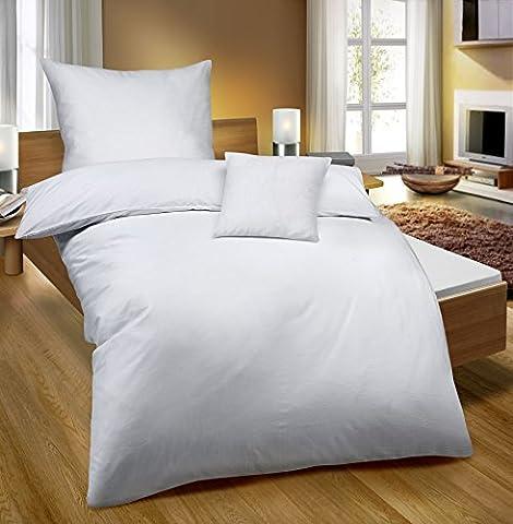 biberna 0065600 Baumwoll-Satin Bettwäsche, 80 x 80 cm + 135 x 200 cm, weiß