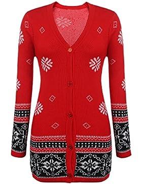 Parabler Damen Weihnachtspullover Strickpullover Christmas Sweater Sweatshirt Norweger Pullover mit Schneeflocken