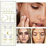 Xinlie 2 Stück Tätowierungsaufkleber Metallic Flash Tattoos Face Tattoo Face Sticker Gesicht Aufkleber for Holiday Gift Girls and Young Women für Augen Gesicht Party Festival Shows Gold (2 Stück)