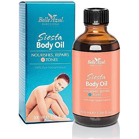 Belle Azul Siesta Body Oil. Olio per il corpo anti-smagliature e anti-cellulite elasticizzante e tonificante. Con estratti puri e naturali, a base di olio di Argan 100% naturale e di olio di Mandorle Dolci. 100ml