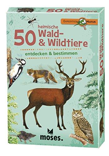 moses. Expedition Natur - 50 heimische Wald und Wildtiere | Bestimmungskarten im Set | Mit spannenden Quizfragen
