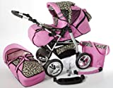 Chilly Kids iCaddy Kombikinderwagen (Regenschutz, Moskitonetz, Getränketablett, Wickelunterlage) 15 Rosa & Leopard