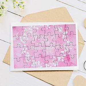"""A6 Puzzle mit 24 Teile """"Willst du mein Blumenmädchen sein?"""" Rosa Wasserfarbenoptik zur Fragestellung für das zukünftige Blumenmädchen – Geschenkidee für Nichte, Tochter, Freundin"""