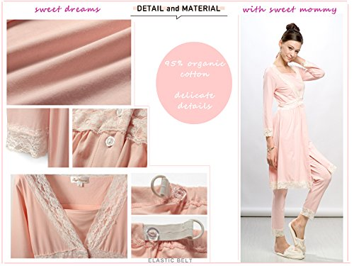 MA8112 Pyjama de grossesse et allaitement avec détails en dentelle Moka