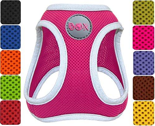 DDOXX Hundegeschirr reflektierend Air Mesh | Step-In | für große, mittelgroße, mittlere & kleine Hunde | Geschirr Hund | Katze | Brustgeschirr | Softgeschirr | Zubehör | Pink, Größe A - Welpen Geschirre
