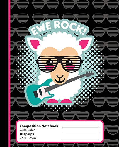 Composition Notebook: Sheep Ewe Rock Kawaii Book for Girls or Boys. Cute Hipster Anime Animal with Rocker Glasses and Guitar. Wide Ruled Journal, 7.5 ... school students and teachers (Kawaii So Cute) -