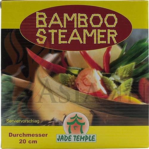 JADE TEMPLE 17115 Steamer-Set, Bambus 2 Körbe mit 1 Deckel,braun 16 x 21 x 21 cm