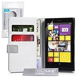 Yousave Accessories NO-KA01-Z486 Etui portefeuille en PU/cuir pour Nokia Lumia 1020 Blanc