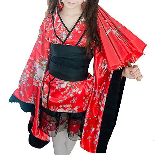 Sexy Floral Kurzer Kimono Bademantel für Damen, tiefer V-Ausschnitt, traditionelles Yukata Sakura Satin Bademantel Hochzeit Robe Cosplay Kostüm - Rot - (Rote Roben Kostüm)