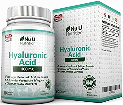 Hyaluronic Acid 300mg – 90 Capsules (3 Month Supply) – Triple Strength of Many Brands by Nu U Nutrition by Nu U Nutrition