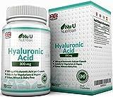 Ácido Hialurónico 300 mg - 90 Cápsulas (Suministro Para 3 Meses) - Tres Veces más Concentrado que Muchas Marcas, por Nu U Nutrition