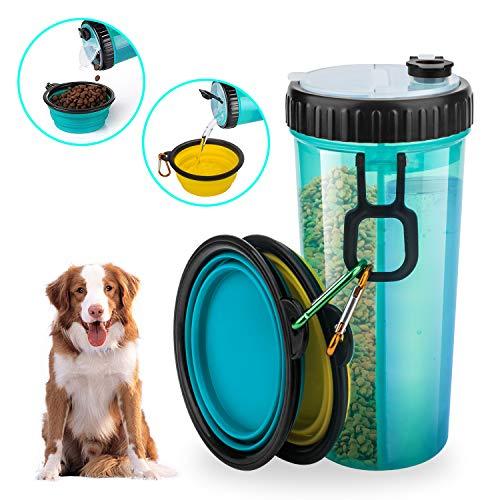 Beinhome Hunde Wasserflasche mit 2 Faltschüsseln, Futterbehälter 2 in 1 für die Wassernahrung von Haustieren, tragbare Hundewasserschüsseln zum Gehen, Wandern & Reisen (Blau & Gelb)