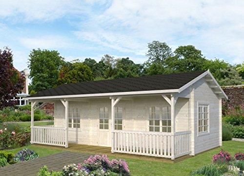 Wochenendhaus Prunus P3 inkl. Fußboden, naturbelassen - 44 mm Blockbohlenhaus, Grundfläche: 25,60 m² mit 11,10 cm Terrasse, Satteldach