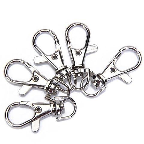 ourbest 55/40,6cm pivotant mousqueton crochets en Argent -- utilisés comme porte-clés, pour collier pour petit chien, à suspendre travaux manuels ou Décorations, projets perles et plus